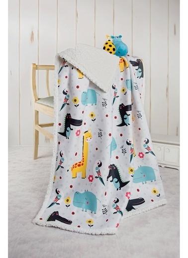 Hamur Fluffy Bebek Battaniyesi 80x100 cm Animal Koyun Tüyü Battaniye Renkli